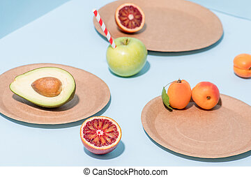 bleu, compostable, plats, sur, papier, fruits, composition