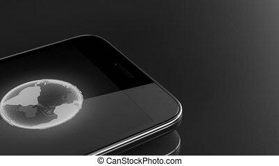 bleu, concept, écran, téléphone, fichier, téléchargement, intelligent
