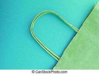 bleu, concept, achats, sommet, papier, zéro, sans, fond, vue, life., gaspillage, plastique, sac, réutilisable