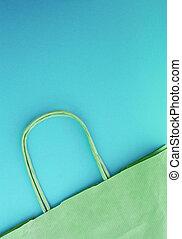 bleu, concept, achats, vertical, photo, sommet, papier, fond, zéro, sans, vue, life., gaspillage, plastique, sac, réutilisable