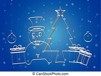 bleu, concept, bonhomme de neige, gradient, arbre, présente, vecteur, quilling, papier, arrière-plan., balle, conception, joyeux, 2018., noël