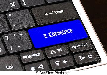 bleu, concept, business, bouton, mince, -, e-commerce
