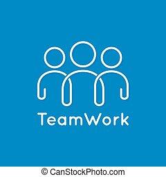 bleu, concept, business, collaboration, fond, ligne, icône