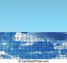 bleu, concept, business, fenetres, ciel, bâtiment