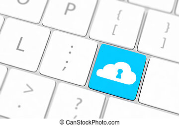 bleu, concept, calculer, clavier, sécurité, nuage
