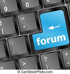 bleu, concept, clavier ordinateur, -, forum, clã©, internet