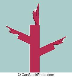 bleu, concept, combinaison, trois, main, fond, mains, conception