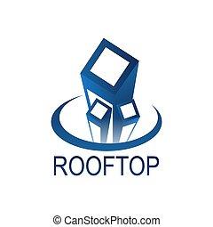 bleu, concept, couleur, sommet, toit, conception, gabarit, logo