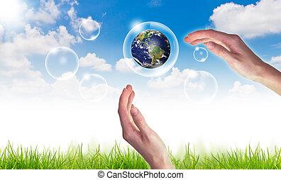 bleu, concept, eco, soleil, globe, ciel, contre, main, :, bulles, prise