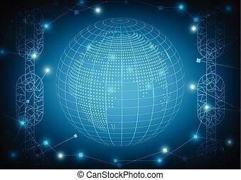 bleu, concept, fond, blockchain, vector., technologie