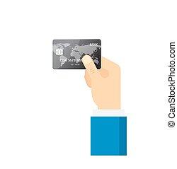 bleu, concept., -, isolé, main, crédit, vecteur, tenue, icon., paiement, carte
