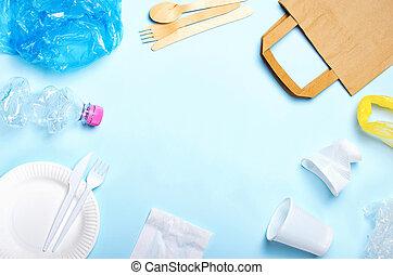 bleu, concept, lumière, sur, recyclage, literie, fond, gaspillage