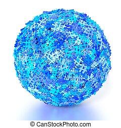 bleu, concept, média, hashtags, sphère, social, couvert