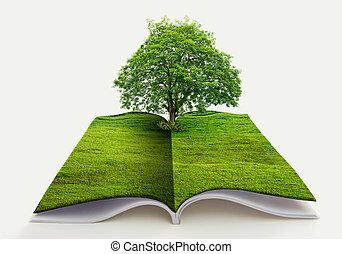bleu, concept, nature, sur, recyclage, arbre, il, isolé, rendre, papier, croissance, fond, blanc, herbe, livre ouvert, 3d