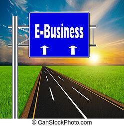 bleu, concept, naturel, e-affaires, dos, signe, route, doux, paysage