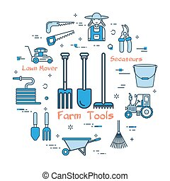 bleu, concept, outils, rond, agriculteurs