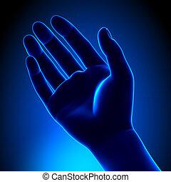 bleu, concept, -, paume, humain, vide