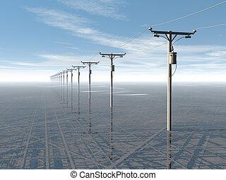bleu, concept, pouvoir électrique, lignes, élevé, rendu,...