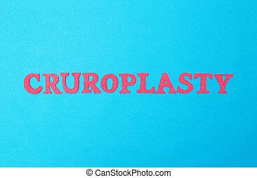 bleu, concept, procédure, correction, plastique, cruroplasty...