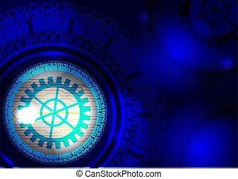 bleu, concept, résumé, arrière-plan., vecteur, technologie numérique