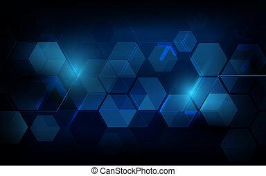 bleu, concept, résumé, fond foncé, géométrique, hexagone, futuriste