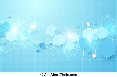 bleu, concept, résumé, fond, géométrique, hexagone, futuriste