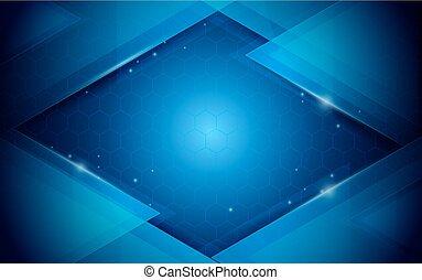 bleu, concept, résumé, fond, géométrique, technologie, futuriste