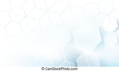bleu, concept, résumé, hexagones, fond, technologie, futuriste