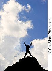 bleu, concept, silhouette, vif, ciel, contre, victoire, nuages, blanc, ou, accomplissement, homme