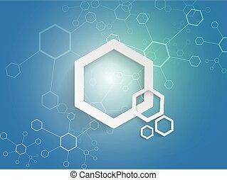 bleu, concept, technologie, fond, hexagones