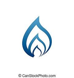 bleu, concept, vecteur, conception, flammes
