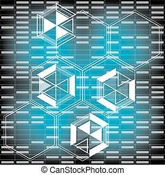 bleu, conception abstraite, fond, technologie, futuriste