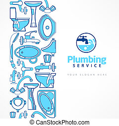 bleu, conception, bannière, plomberie, logo
