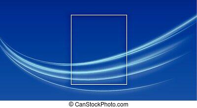 bleu, conception, lumière, fond, bande, résumé
