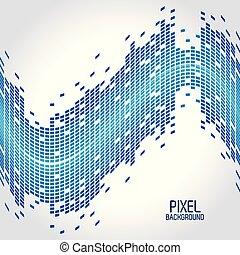 bleu, conception, pixel, fond, vague