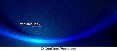 bleu, conception, technologie, bannière, vague