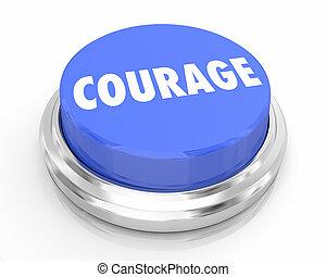 bleu, confiance, gras, bouton, illustration, courage, bravoure, 3d