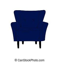bleu, confortable, fauteuil, illustration, amorti, vecteur, conception, intérieur, élément, tapisserie ameublement, meubles