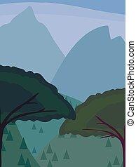bleu, conifère, collines, vertical, montagnes, enduisage, ciel, deux, illustration, nightly, contre, à feuilles caduques, vecteur, lointain, arbres, sous, stylisé, toile de fond