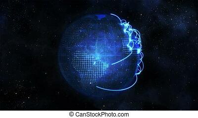 bleu, connexion, animé, la terre