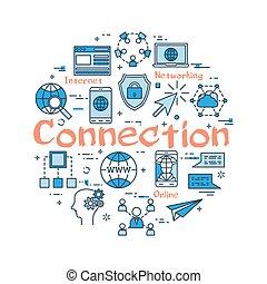 bleu, connexion, concept, rond
