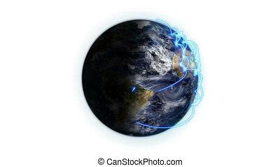 bleu, connexions, la terre