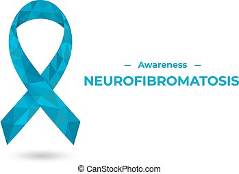 bleu, conscience, illustration, ribbon., neurofibromatosis, toile, vecteur, impression, polygonal, isolé, white.