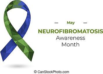 bleu, conscience, illustration, ribbon., neurofibromatosis, toile, vecteur, impression, vert, polygonal, isolé, white.