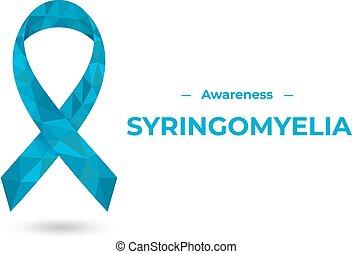bleu, conscience, poly, illustration, ribbon., syringomyelia, bas, toile, vecteur, impression, isolé, white., coloré