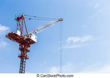 bleu, construction, ciel, site