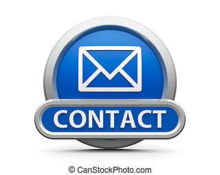 bleu, contact, icône