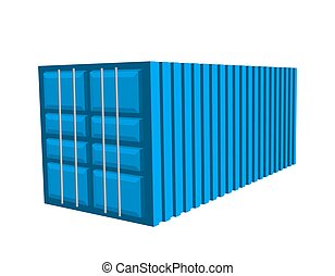bleu, containerb, cargaison