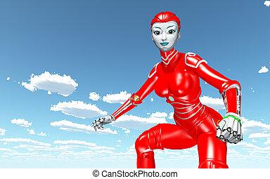 bleu, contre, robot, nuages, ciel, humanoïde