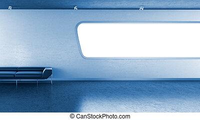 bleu, copyspace, mur, interrior, sombre, fenêtre, divan